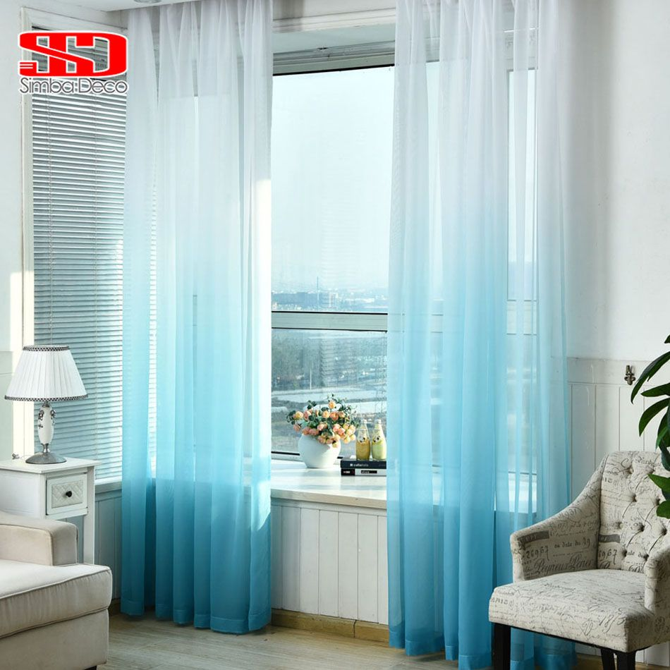 Kids Bedroom Window Treatments gradient blue tulle curtains for living room kids bedroom voile
