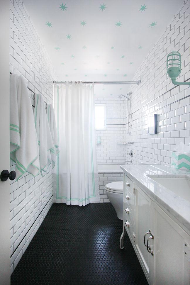 Mint Green Black And White Kids Bathroom