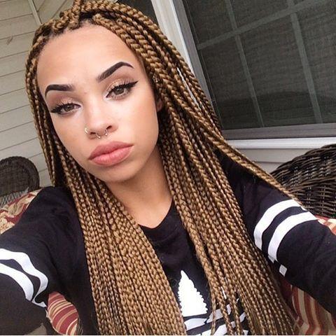 black and dark brown box braids