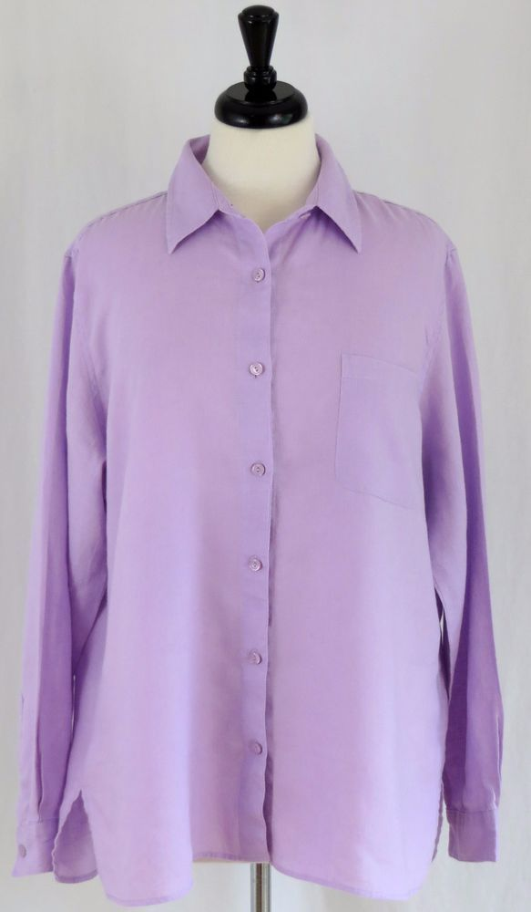 ef03cdb1c76d0 LL Bean Womens Shirt XL Linen Button Front Long Sleeve Lavender Purple   LLBean  ButtonDownShirt  Career