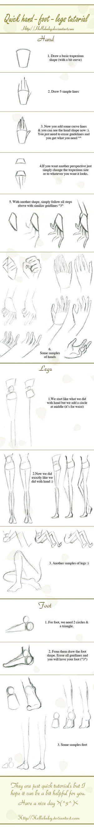 Como desenhar mãos e pes.
