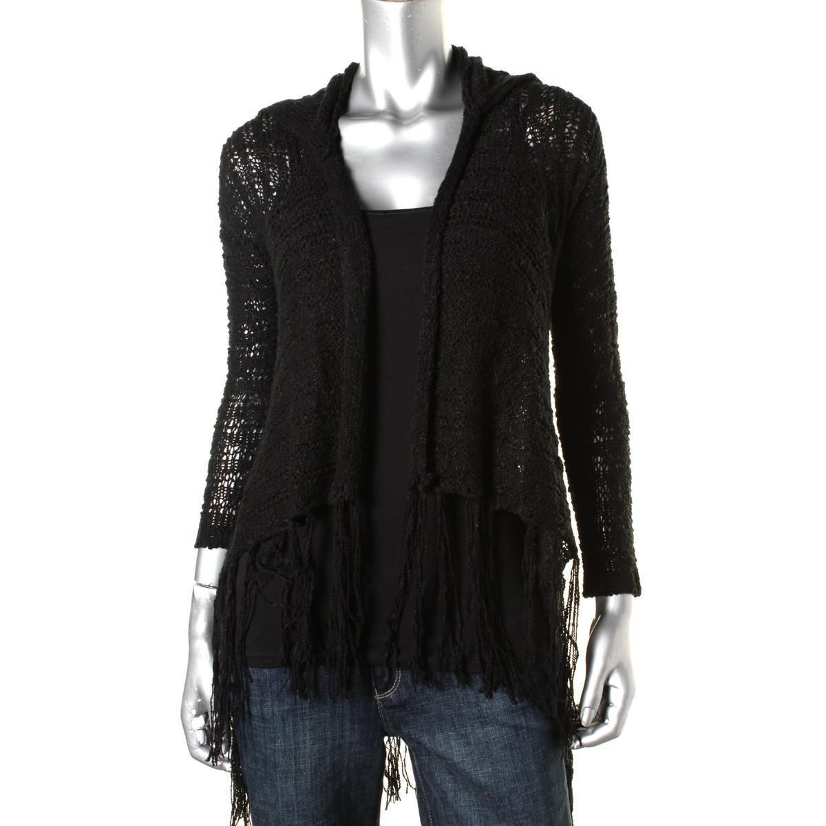Planet Gold 9880 Womens Hooded Duster Fringe Cardigan Sweater ...