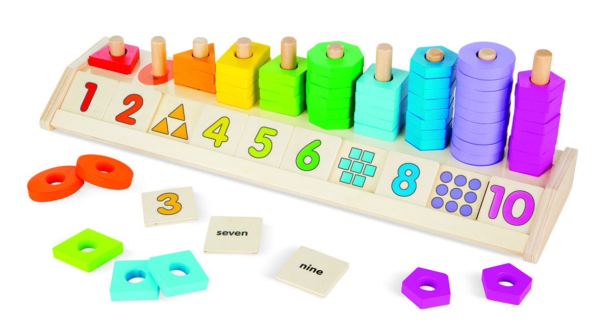 Wooden Educational Toy Numbers Counting Stacker With 10 Numbers /& 10 Colors