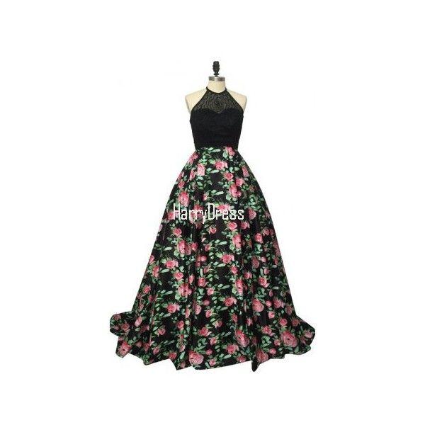 Black Fuchsia Print Satin A Line Sleeveless Crop Top Floor Length Prom... (