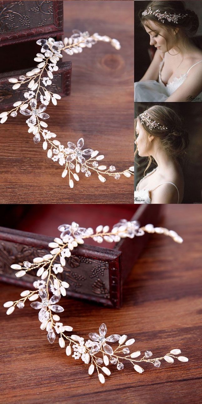 Cute Leaves Pearl Wedding Hair Chain Branch Headband Hair Accessories
