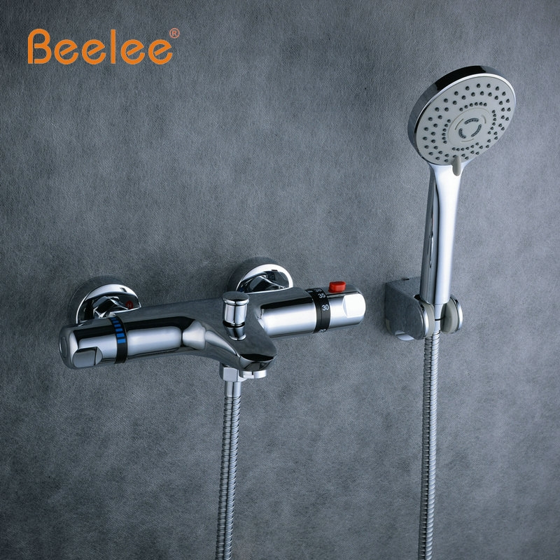 82 3 Watch Here Beelee Wall Mounted Bath Thermostatic Faucet Mixer Shower Exposed Valve Bottom Brass Thermostatic Bathtub Faucet Bathroom Tap Kran