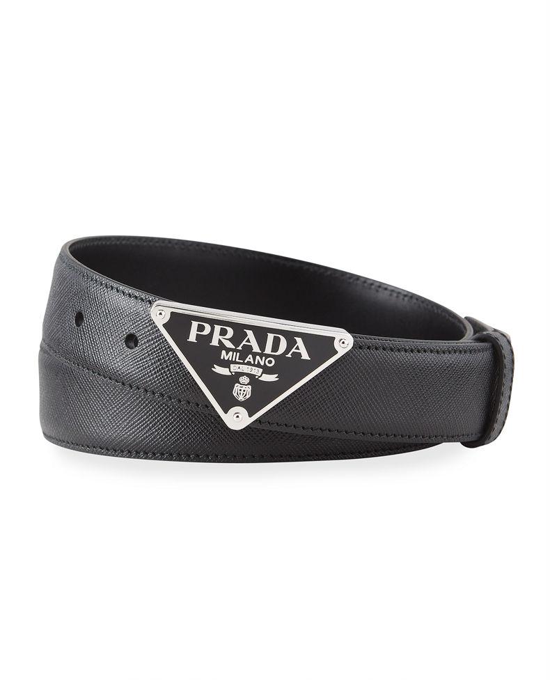 Prada Men S Triangle Logo Leather Belt Prada Prada Men Triangle Logo