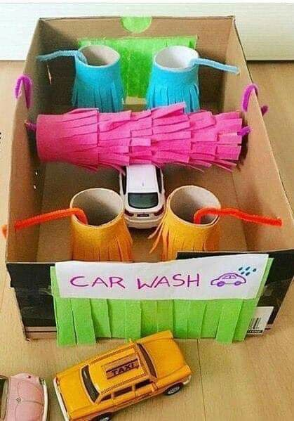 Fun cardboard and toilet paper roll car wash.  The kids will have so much fun using this car wash setup with their Hot Wheels cars and monster trucks!
