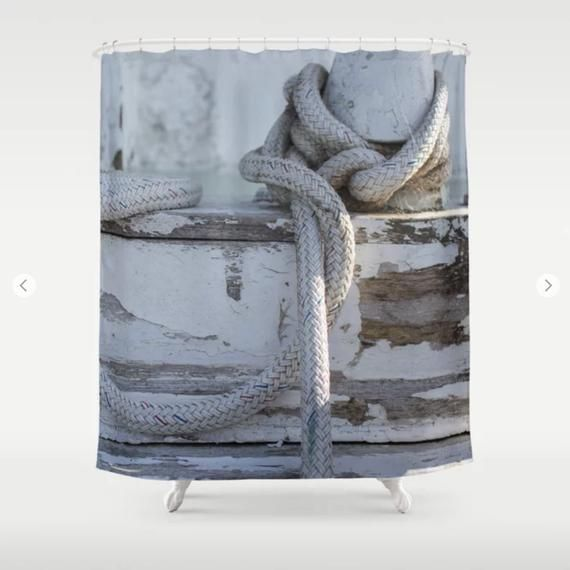 Rustic Pier Nautical Shower Curtain Blue Gray Shower Curtain