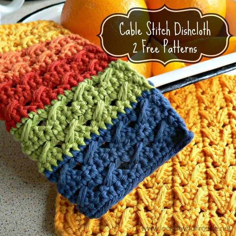 Cable Stitch Dishcloth { 2 Free Patterns   Trapillo, Tejido y Ganchillo