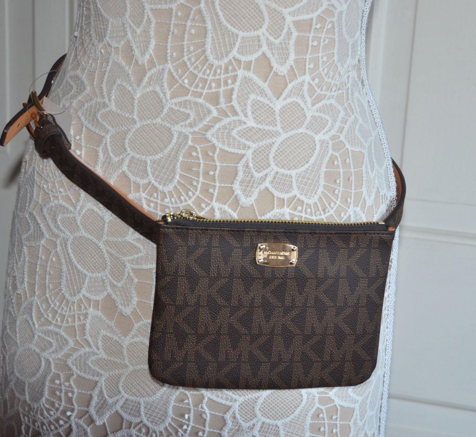 45f4805d7fbf1e NWT $78 Michael Kors Fanny Pack Belt Bag MK Logo Faux Leather Size MED BROWN