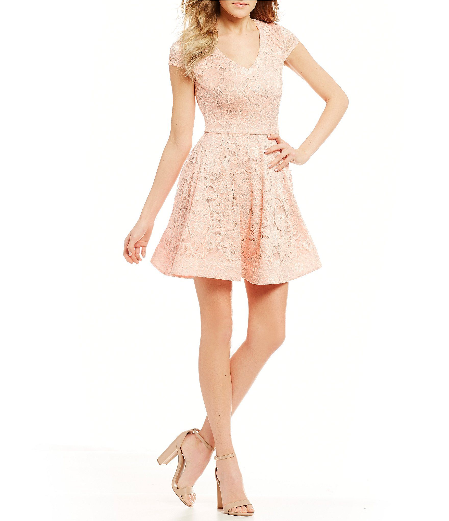 B darlin vneck lace bow back fitandflare dress lace bows