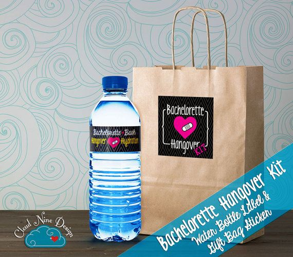 Super Cheap And Easy Bachelorette Hangover Kit Instant Download - Bachelorette water bottle label template