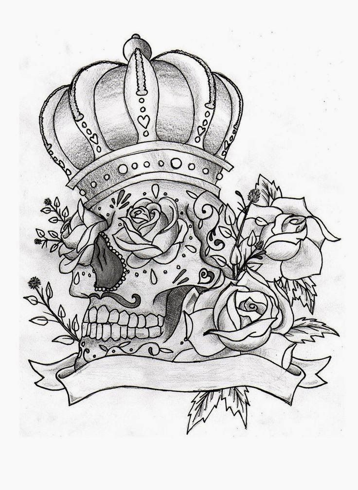 Sugar Skull With Crown Roses And Banner Tattoo Stencil 29 Click ...