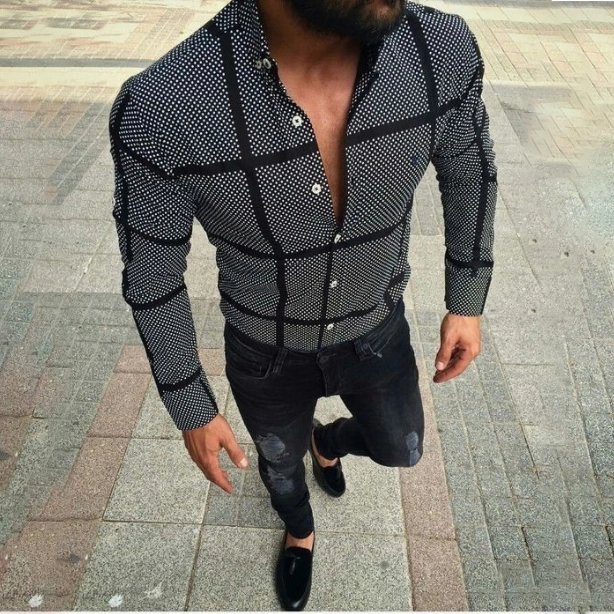 Summer New Men's Casual Black Plaid Shirt Everboo (With