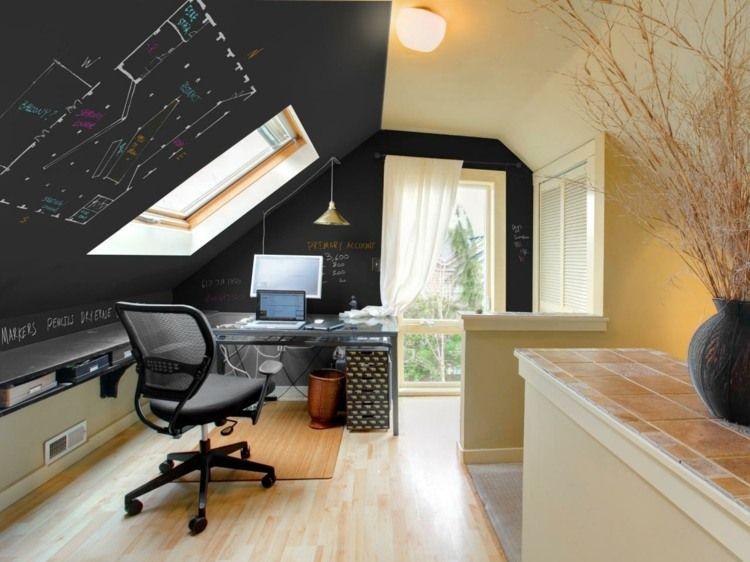 Als Wohnidee für dieses Heimbüro dient Tafelfarbe Dachausbau - wohnideen und lifestyle