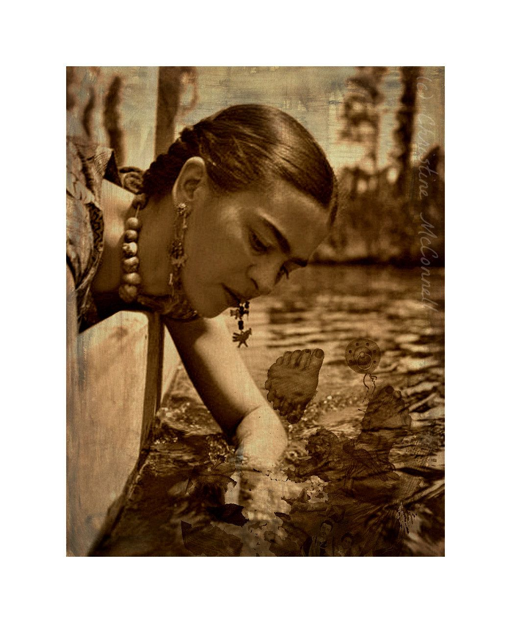 7865c3166d5 Frida Kahlo Photomontage What The Water Gave Me Art Print Original 5x7  Signed Mixed Media Collage. via Etsy.
