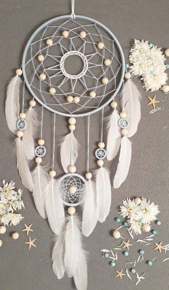 Boho dream catcher grande décoration murale style Boho art moderne Talisman pour la maison blanc pépinière Wall Art avec cadeau de plumes pour elle   – Traumfänger