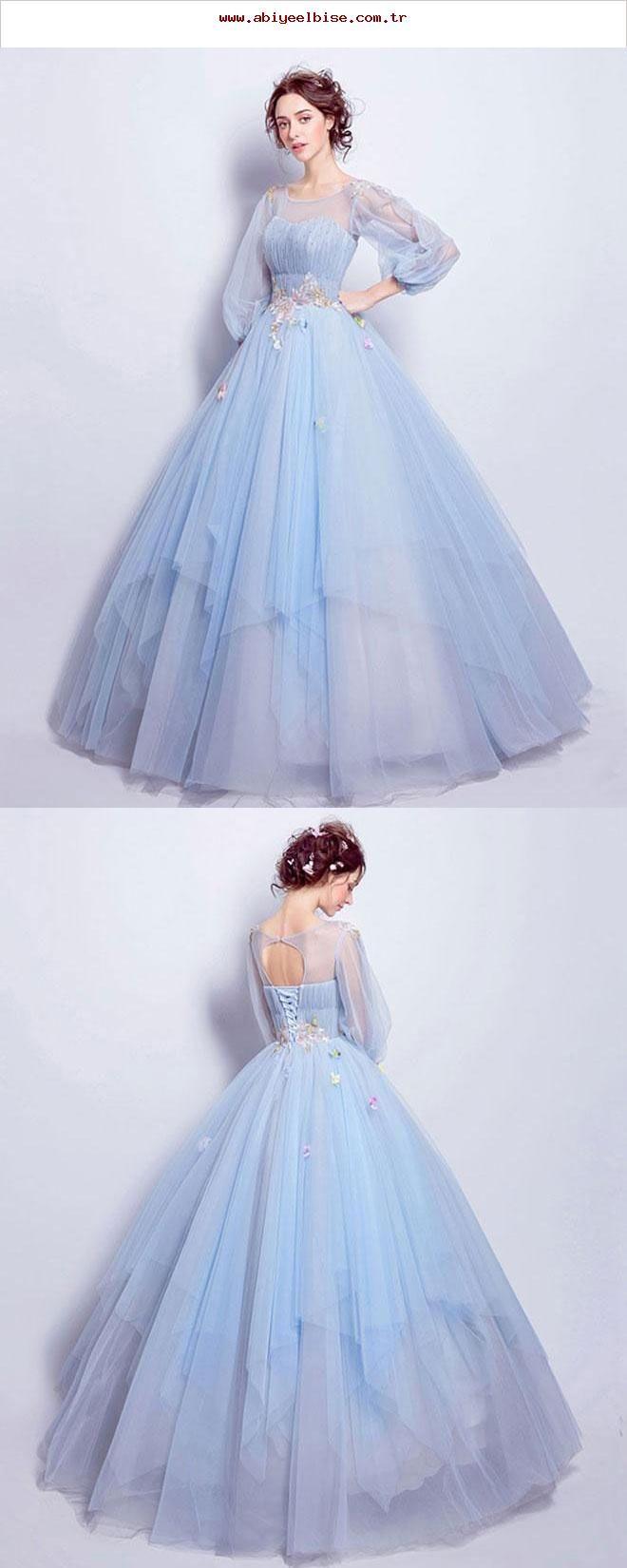Blaues langes Abendkleid mit Rundhalsausschnitt, blaues Abendkleid