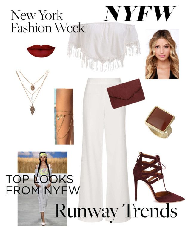 """NYFW Hot RunWay Trends"" by tessawarongan on Polyvore featuring Mara Hoffman, Topshop, Aquazzura, Dorothy Perkins, Anastasia Beverly Hills, NYFW and NYFW2015"