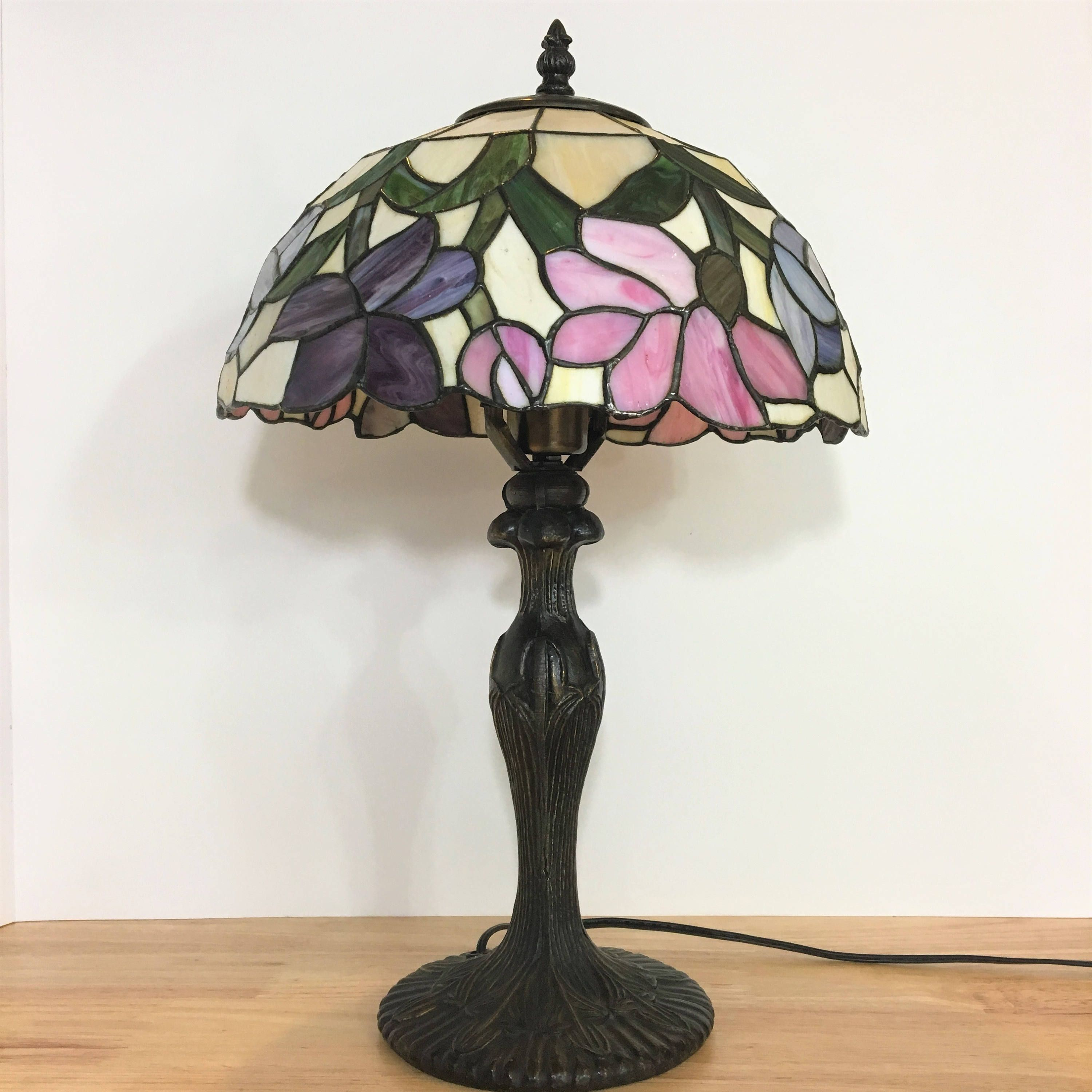Vintage Purple Blue And Pink Tiffany Style Stained Gl Lamp