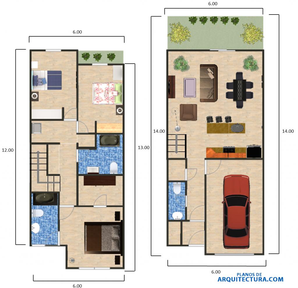 Planos de casa dos pisos y tres dormitorios arq planos for Planos de casas de 3 pisos