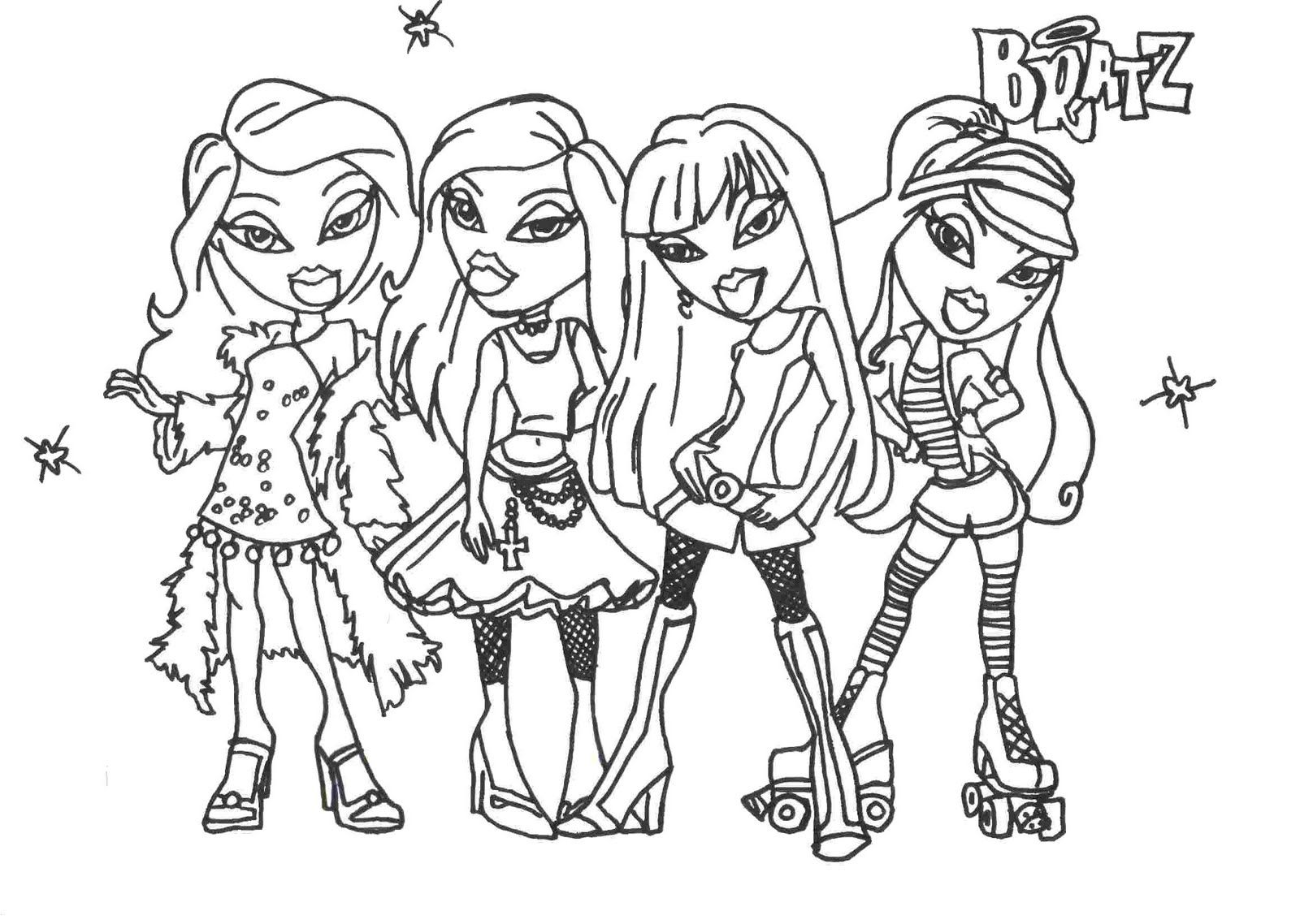 Coloring pictures disney characters - Bratz Glamor Girls Coloring Pages Disney Princess Coloring Pages