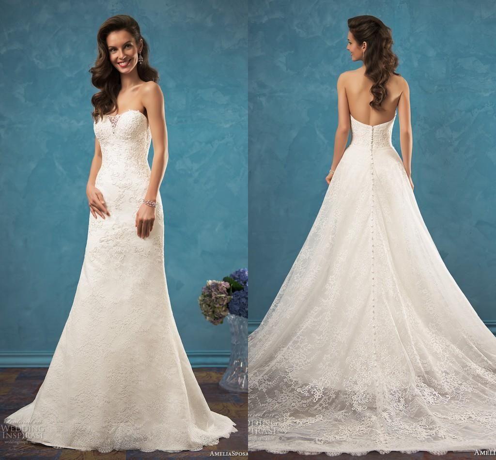 Amelia Sposa 2017 Full Lace Overskirt Wedding Dresses Sweetheart ...