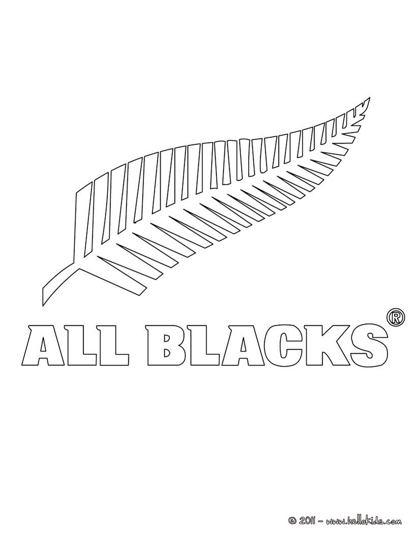 New Zealand All Blacks Rugby Team Coloring Page All Blacks Rugby