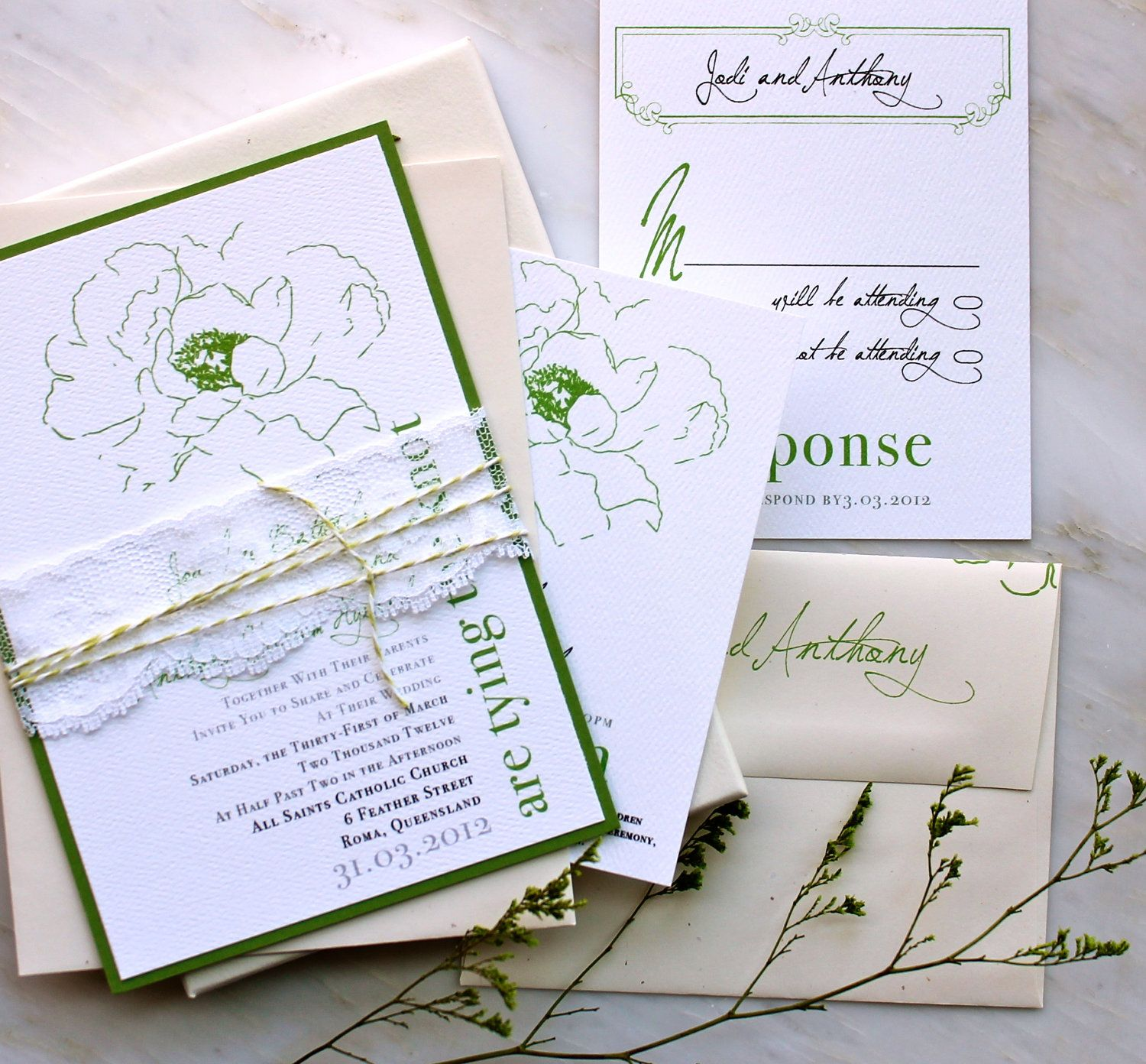 Simple green lace wedding invitations with green ivory baker simple green lace wedding invitations with green ivory baker twine purchase for best wedding invitationshandmade monicamarmolfo Image collections