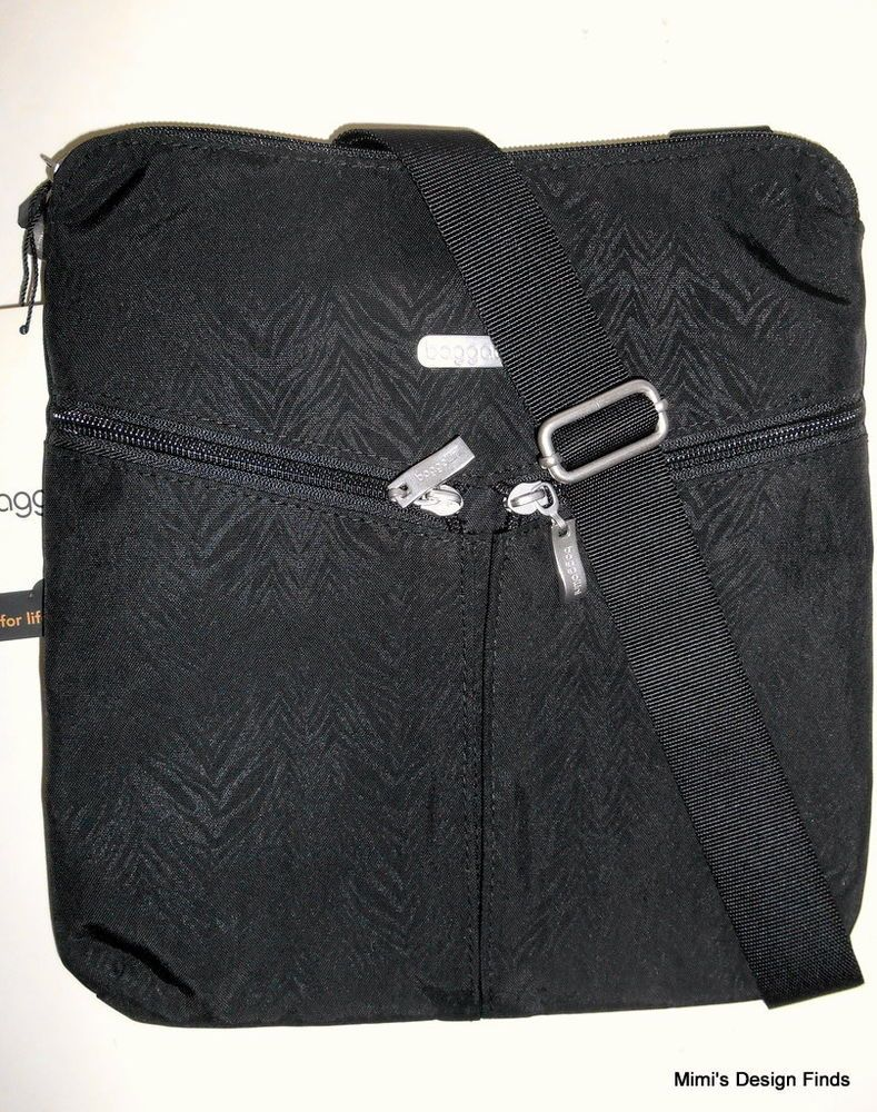 246c8802b8 NEW BAGGALLINI Vista Crossbody Shoulder Bag Black Zebra Embossed Nylon Top  Zip  Baggallini  CrossBody