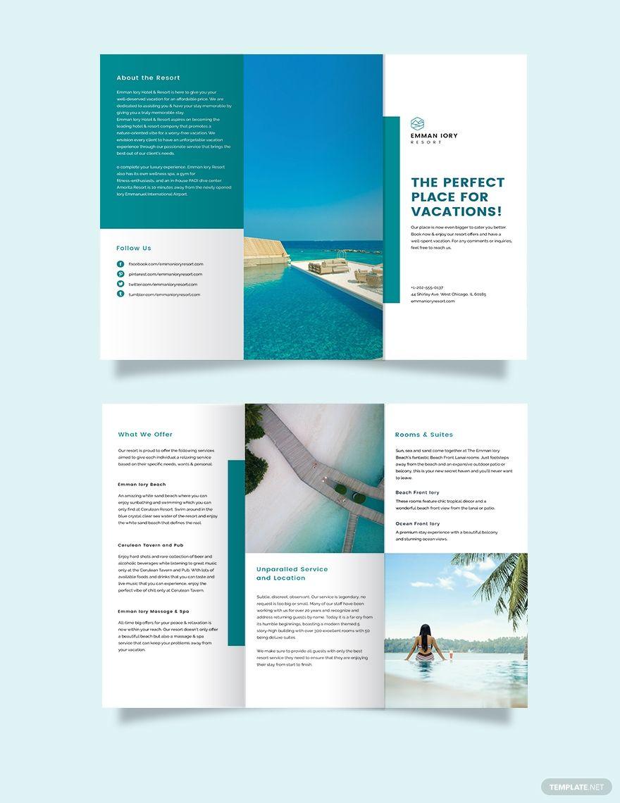 Hotel Resort Tri Fold Brochure Template Free Publisher Illustrator Indesign Word Apple Pages Psd Template Net Company Brochure Design Hotel Brochure Brochure Design Layout Tri fold brochure template publisher