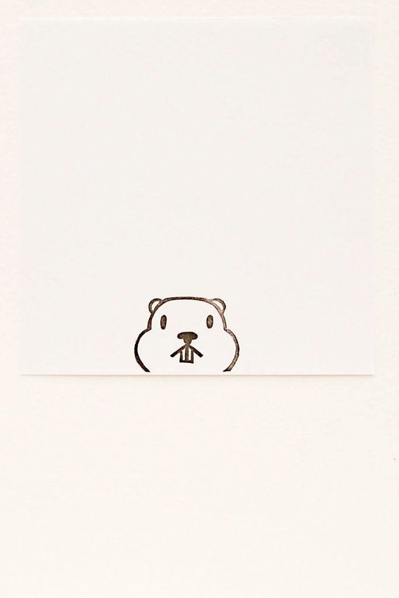 Groundhog stamp, groundhog day gift, peekaboo stamp, animal stamps, funny animal stamp, handmade stamps, cute stationary