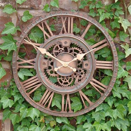 High Quality Outside In Designs Copper Mechanical Cog Garden Wall Clock Available To Buy  At A Great Price From The Emporium Direct