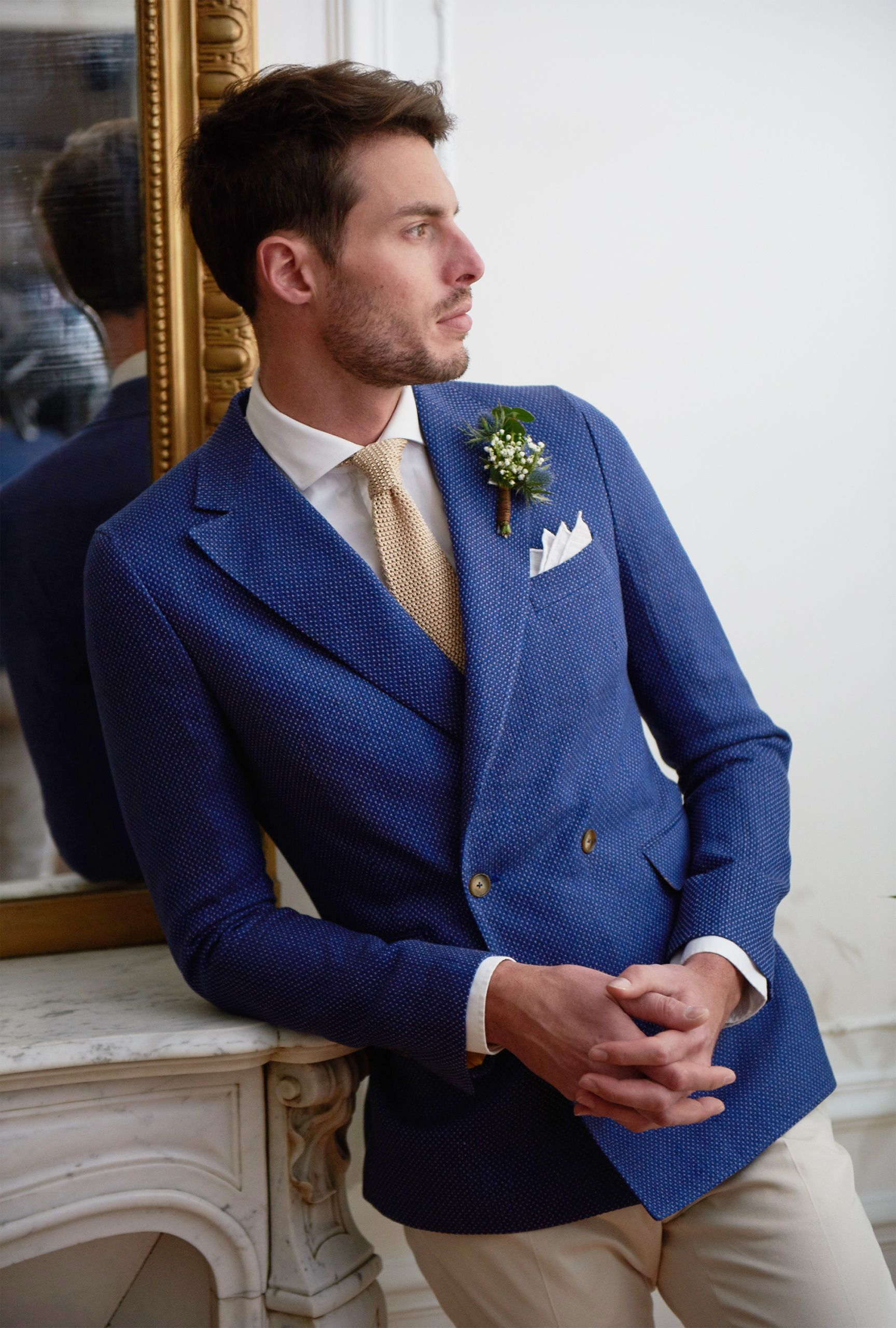 Veste bleu marine bouton dore homme