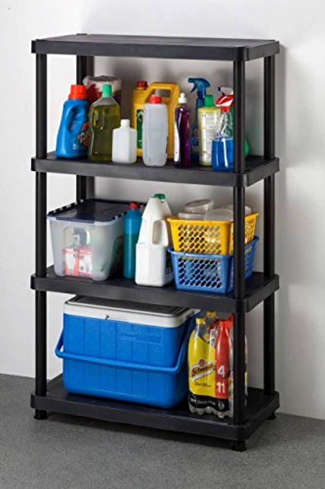 Plastic Shelving Unit 4-Tier Freestanding Storage Rack Organizer Kitchen Shelves #Keter & Plastic Shelving Unit 4-Tier Freestanding Storage Rack Organizer ...