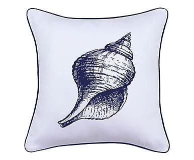 Federa per cuscino in tessuto Shell bianco/blu, 45x45 cm