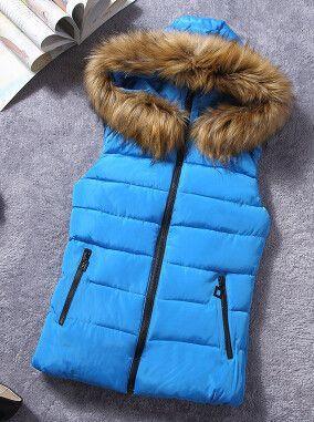 2015 New Fashion Winter Vest Women Brand Designer Hooded Waistcoat Slim Down Cotton Vests Colete Feminino AE-ME-136