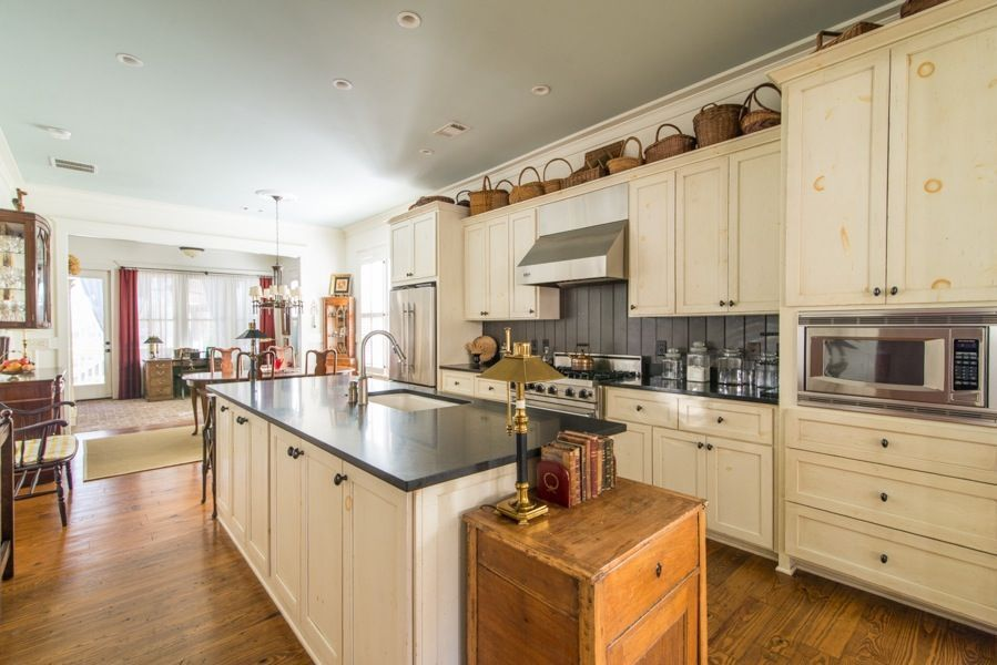 Country Kitchen with Slate counters, Crown molding ...