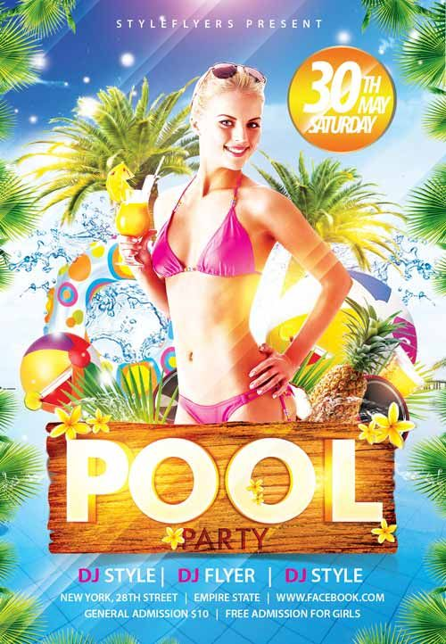 Pool Party Free Flyer Templateu2026 summer Pinterest Free flyer - pool party flyer template
