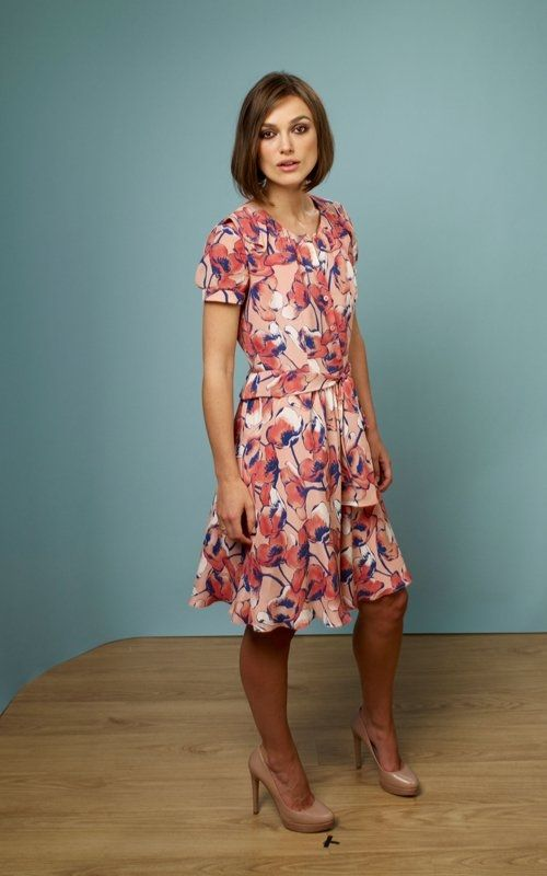Keira Knightley wearing Moschino Cheap & Chic Resort 2012 Floral Print Dress.