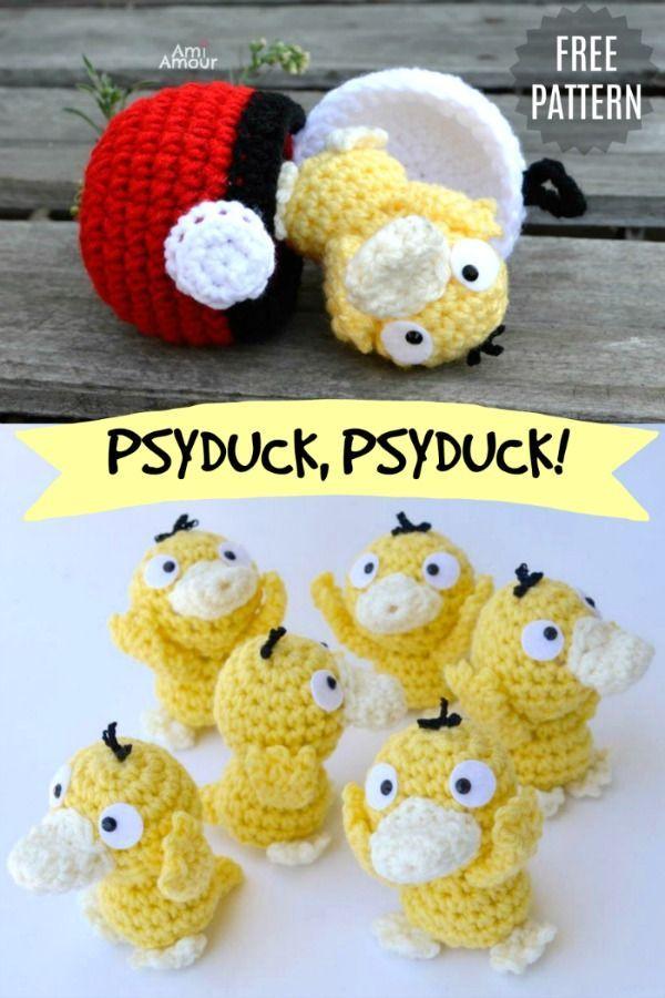 Psyduck Amigurumi Crochet Pattern - Pokemon - Ami Amour #stuffedtoyspatterns