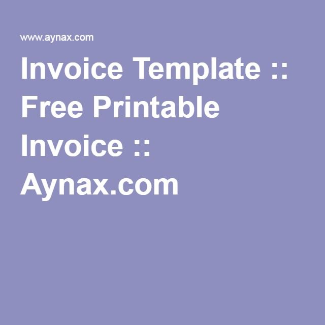 Invoice Template  Free Printable Invoice  Aynax HOME - home invoice