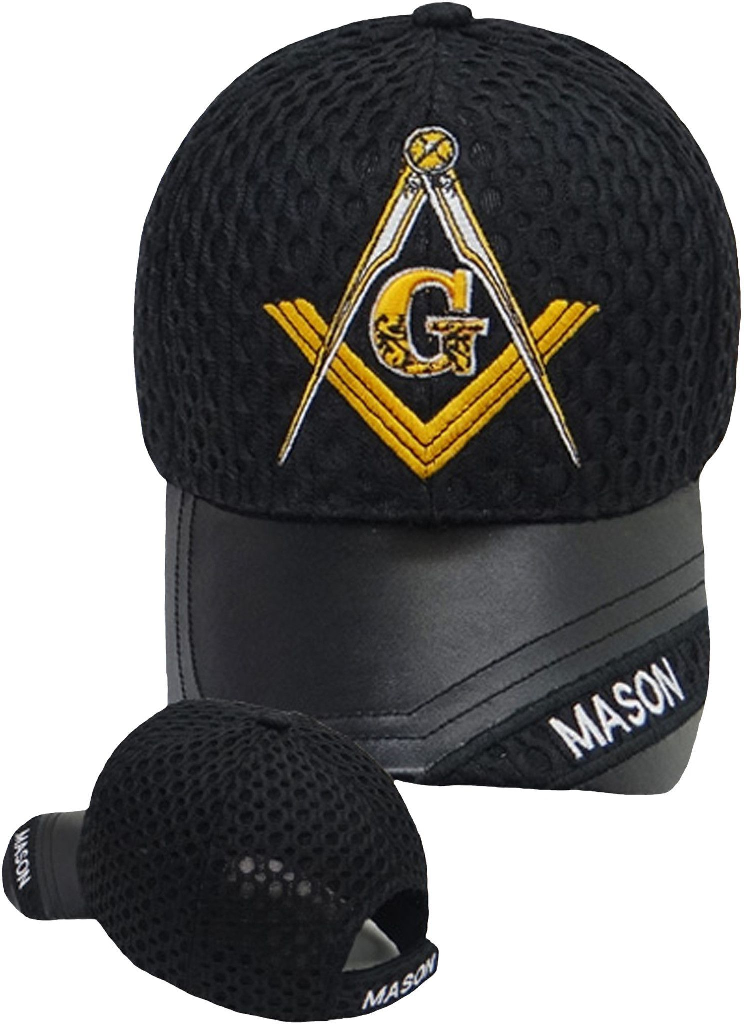 925088f0 Mason Hat Black Baseball Cap with Masonic Logo Freemasons Shriners Prince  Hall Lodge Leather Headwear