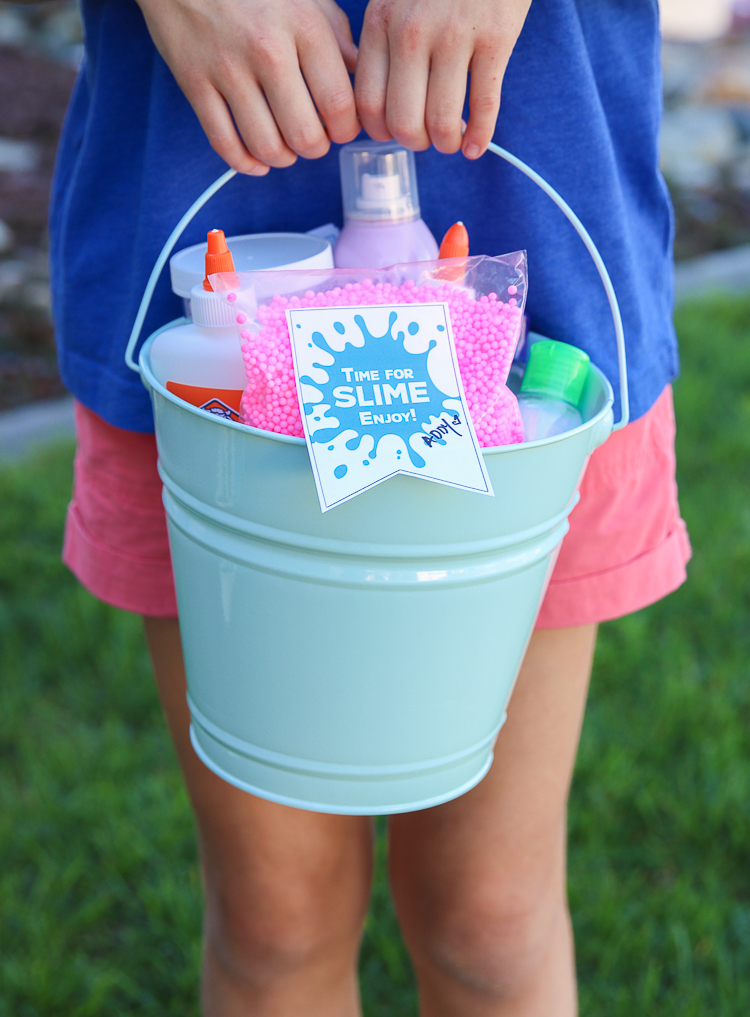Slime Gift Idea + Free Printables - Slime birthday, Slime party, Birthday crafts, Birthday party themes, 10th birthday parties, Birthday gifts for girls - We seem to have a pretty constant rotation of birthday parties these days  Although we love the parties and celebrations, I am not a big fan of running around trying to come up with gifts  Almost every kid we know these days is super into Slime and many even ask for slime supplies for   Read More »
