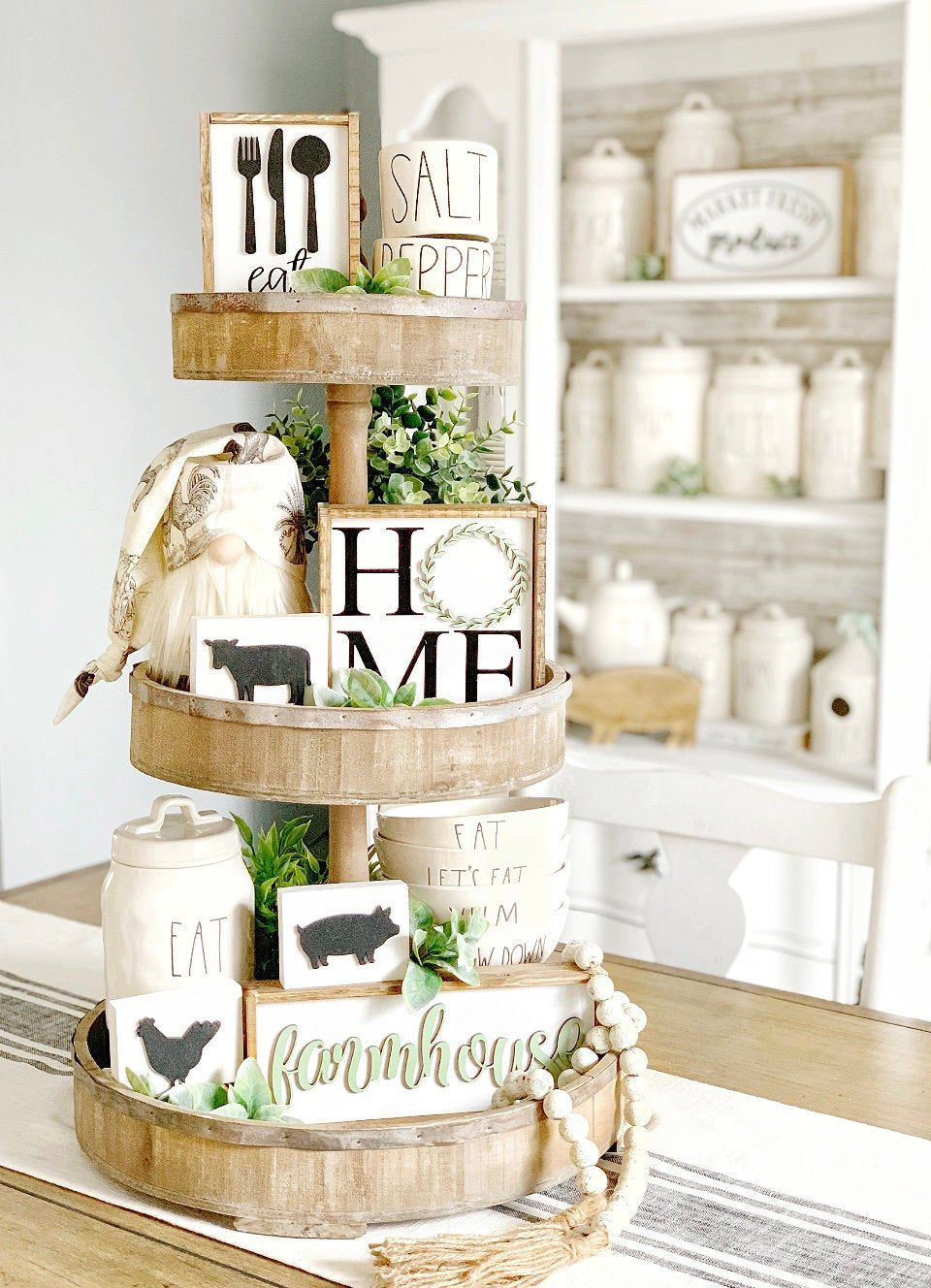 Farmhouse signs / tiered tray decor / home sign / kitchen signs / rae Dunn decor / 3D signs / pig / cow / chicken/  small signs / coffee bar #tieredtraydecor