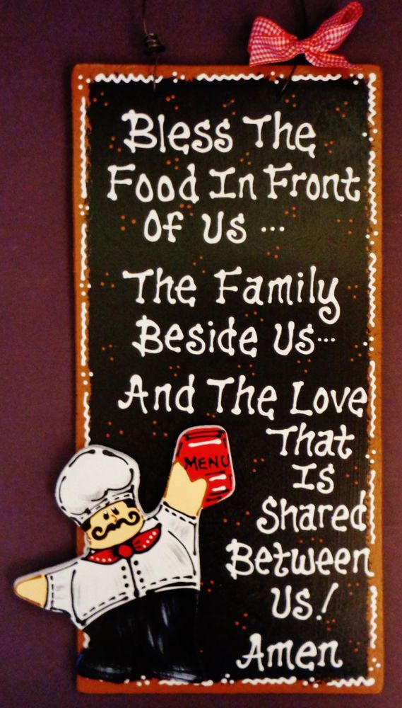 Fat Chef Bless Food Family And Love Kitchen Sign Wall Plaque Cucina Bistro Decor Unbranded
