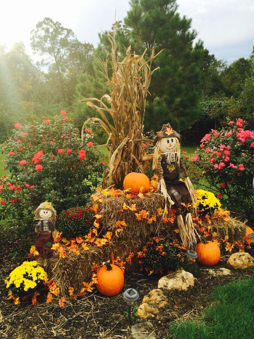 Fall Display At Driveway Entrance With Mums Pumpkins