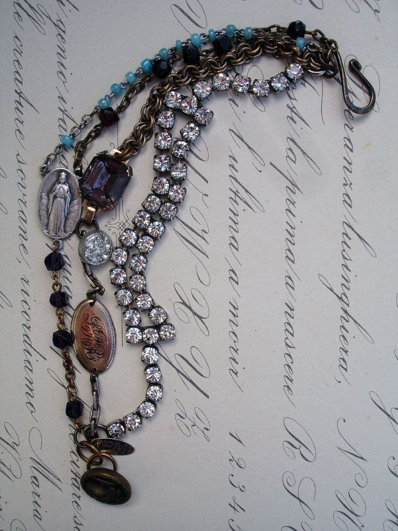 3 Strands Bracelet with Rosaries by PaulaMontgomery on Etsy, $120.00