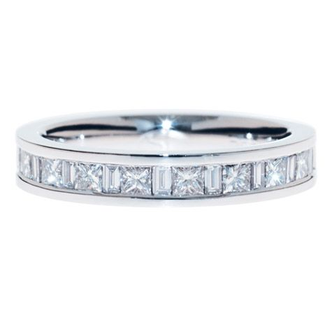 ab46bbbd3c231 PRINCESS AND BAGUETTE CUT DIAMOND BAND The alternating square and ...